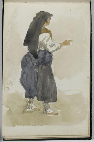 Album des Pyrénées : étude de femme Ossaloise-Eugene Delacroix-Stretched Canvas Print