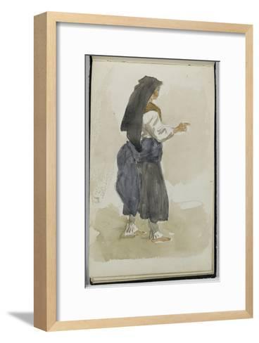 Album des Pyrénées : étude de femme Ossaloise-Eugene Delacroix-Framed Art Print