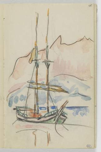 Album : bateau à deux mâts-Paul Signac-Stretched Canvas Print