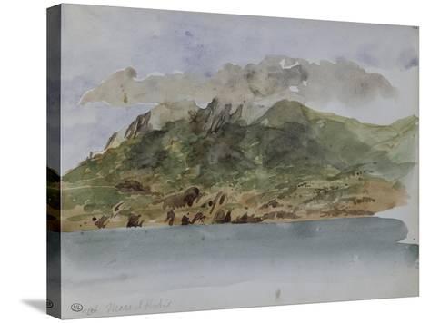Album du voyage en Afrique du Nord : bords de mer avec la côte rocheuse et les montagnes-Eugene Delacroix-Stretched Canvas Print