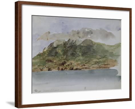 Album du voyage en Afrique du Nord : bords de mer avec la côte rocheuse et les montagnes-Eugene Delacroix-Framed Art Print