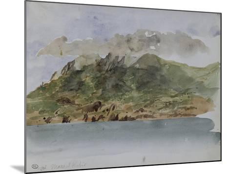 Album du voyage en Afrique du Nord : bords de mer avec la côte rocheuse et les montagnes-Eugene Delacroix-Mounted Giclee Print