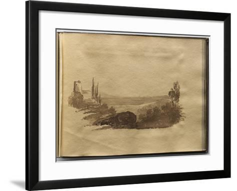 Album of Drawings Charlotte Napoleon: View of a Lake--Framed Art Print