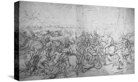 Alexandre et Porus ou La Défaite de Porus-Charles Le Brun-Stretched Canvas Print