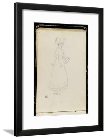Album: Woman Standing, Carrying a Basket, Side View-Jean-Baptiste-Camille Corot-Framed Art Print