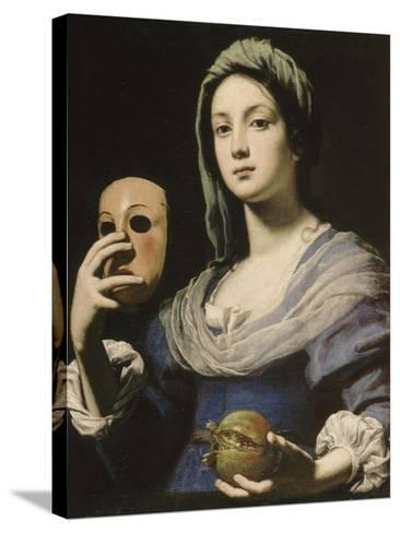 All?gorie de la Simulation : femme tenant un masque et une grenade-Lorenzo Lippi-Stretched Canvas Print
