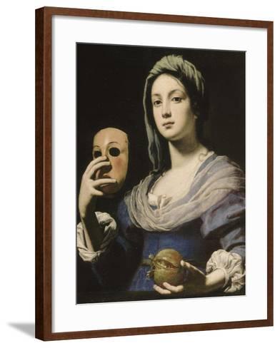 All?gorie de la Simulation : femme tenant un masque et une grenade-Lorenzo Lippi-Framed Art Print