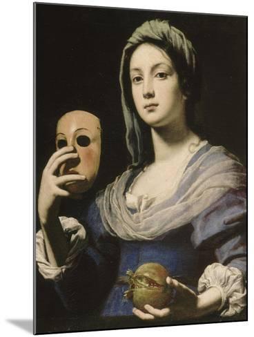 All?gorie de la Simulation : femme tenant un masque et une grenade-Lorenzo Lippi-Mounted Giclee Print