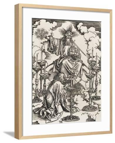 Apocalypse selon Saint Jean - Saint Jean apercevant les 7 chandeliers-Albrecht D?rer-Framed Art Print