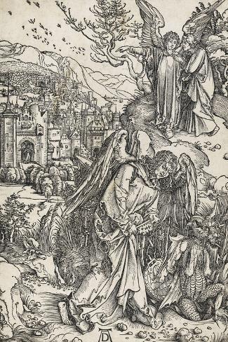 Apocalypse selon Saint Jean - L'ange portant la clé de l'Abîme-Albrecht D?rer-Stretched Canvas Print