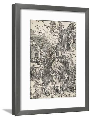 Apocalypse selon Saint Jean - L'ange portant la clé de l'Abîme-Albrecht D?rer-Framed Art Print