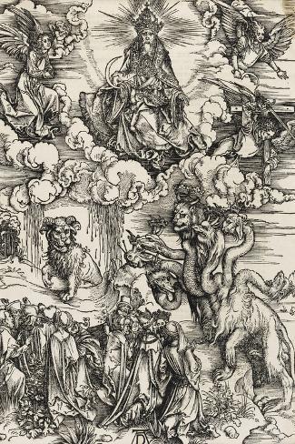 Apocalypse selon Saint Jean - Le monstre de sept têtes et la bête à cornes-Albrecht D?rer-Stretched Canvas Print