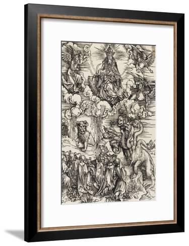 Apocalypse selon Saint Jean - Le monstre de sept têtes et la bête à cornes-Albrecht D?rer-Framed Art Print