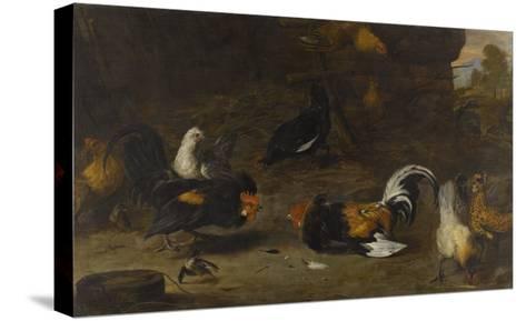 Combat de coqs-Melchior de Hondecoeter-Stretched Canvas Print