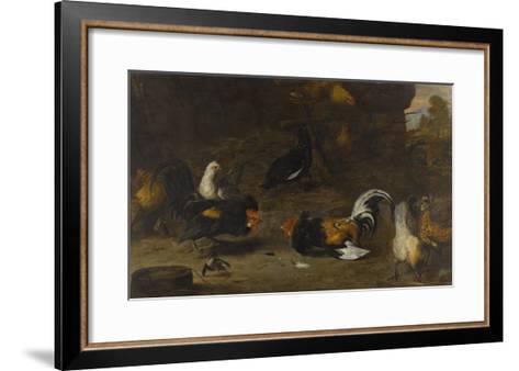 Combat de coqs-Melchior de Hondecoeter-Framed Art Print
