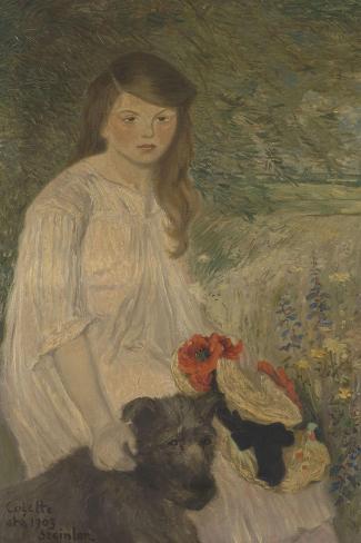 Colette sur fond de jardin (1888-1969), fille de l'artiste-Th?ophile Alexandre Steinlen-Stretched Canvas Print