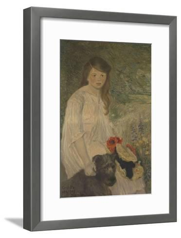 Colette sur fond de jardin (1888-1969), fille de l'artiste-Th?ophile Alexandre Steinlen-Framed Art Print