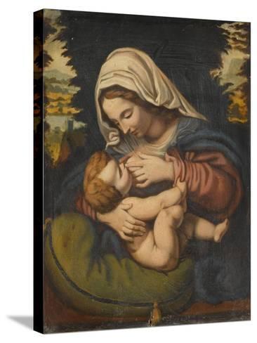 Copie de La Vierge au coussin vert-Andrea Solario-Stretched Canvas Print