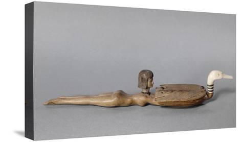 Cuiller à fard : cuiller à la nageuse, jeune femme nageant, nue, tenant un canard--Stretched Canvas Print