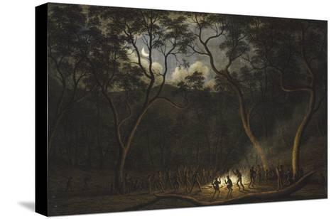 Dance of the Natives of Van Diemen's Land, Moonlight-John Glover-Stretched Canvas Print