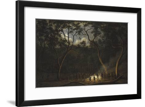 Dance of the Natives of Van Diemen's Land, Moonlight-John Glover-Framed Art Print