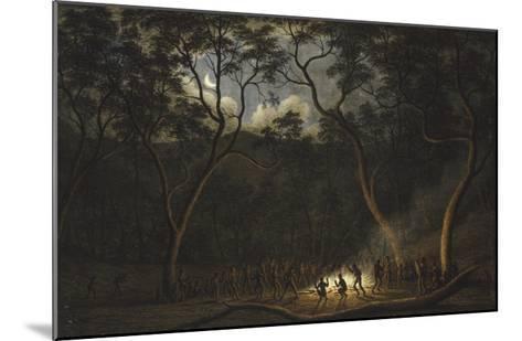 Dance of the Natives of Van Diemen's Land, Moonlight-John Glover-Mounted Giclee Print