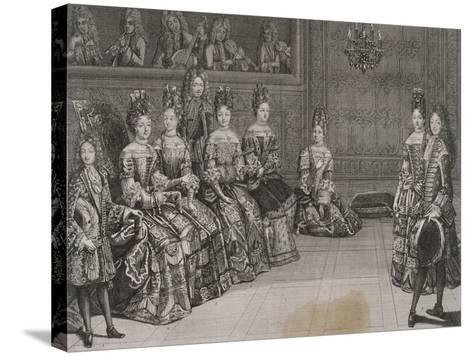 Dance: the Duke of Chartres in the Minuet with Miss-Antoine Trouvain-Stretched Canvas Print