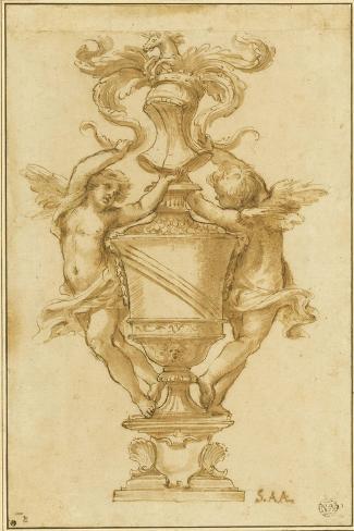 Decorative Vase with the Arms of Albergati Bologna-Alessandro Algardi-Stretched Canvas Print