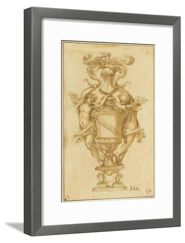 Decorative Vase with the Arms of Albergati Bologna-Alessandro Algardi-Framed Art Print