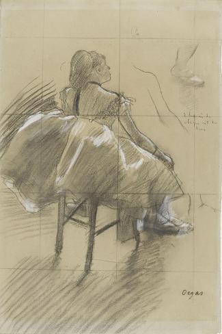 Danseuse assise, de trois quarts à droite-Edgar Degas-Stretched Canvas Print