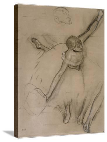 Danseuse au bouquet et étude de bras-Edgar Degas-Stretched Canvas Print