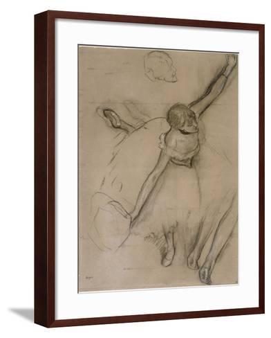 Danseuse au bouquet et étude de bras-Edgar Degas-Framed Art Print