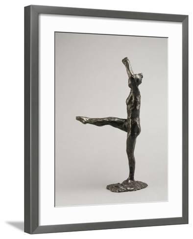 Danseuse, position de quatrième devant sur la jambe gauche, première étude-Edgar Degas-Framed Art Print