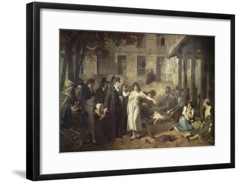 Le docteur P. Pinel faisant tomber les chaînes des aliénés-Tony Robert-fleury-Framed Art Print