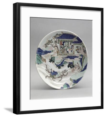 Plat à décor de personnages et paysage--Framed Art Print