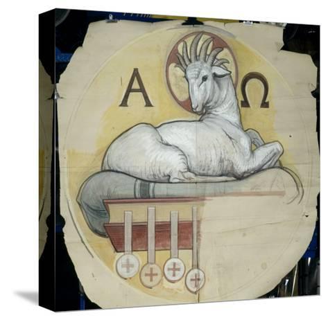 Eglise Saint-François-Xavier (Paris) : coupole du transept : agneau entre l'alpha et l'oméga.-Charles Lameire-Stretched Canvas Print