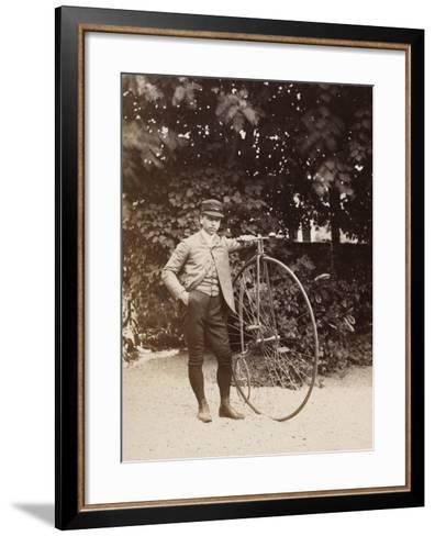 Edouard Eiffel, tenant un bicycle-Alexandre-Gustave Eiffel-Framed Art Print