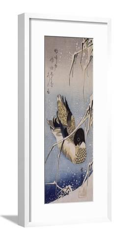 Canard et roseaux sous la neige-Ando Hiroshige-Framed Art Print