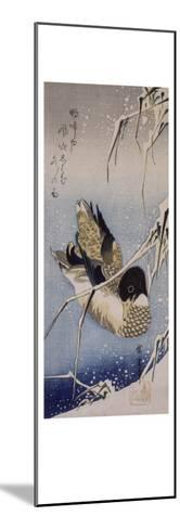 Canard et roseaux sous la neige-Ando Hiroshige-Mounted Giclee Print