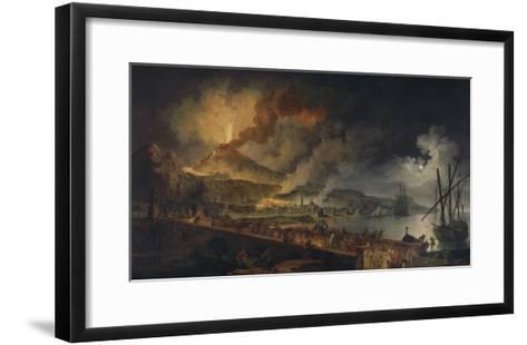 Eruption du Vésuve et vue de Portici-Pierre Jacques Volaire-Framed Art Print