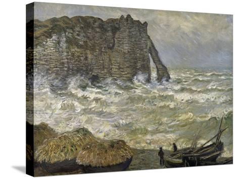 Etretat, mer agitée-Claude Monet-Stretched Canvas Print