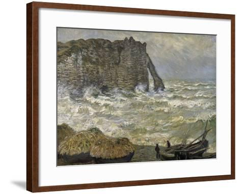 Etretat, mer agitée-Claude Monet-Framed Art Print