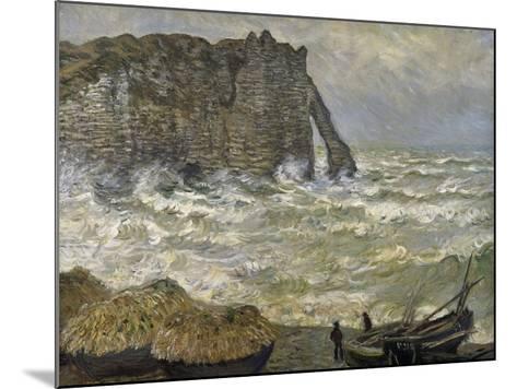 Etretat, mer agitée-Claude Monet-Mounted Giclee Print