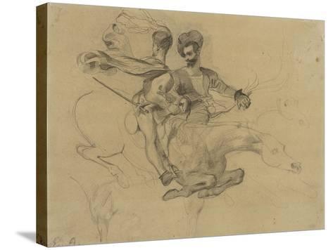 Faust et Méphisto galopant dans la nuit du Sabbat; étude pour la suite de 17 lithographies-Eugene Delacroix-Stretched Canvas Print