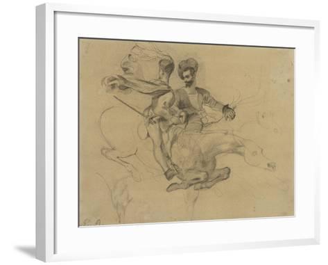 Faust et Méphisto galopant dans la nuit du Sabbat; étude pour la suite de 17 lithographies-Eugene Delacroix-Framed Art Print