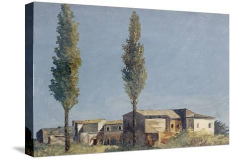 Fabriques à la villa Farnèse : les deux peupliers-Pierre Henri de Valenciennes-Stretched Canvas Print