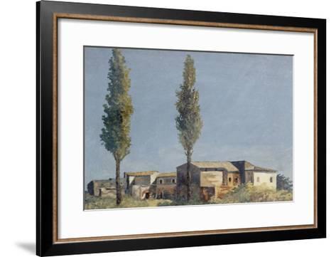 Fabriques à la villa Farnèse : les deux peupliers-Pierre Henri de Valenciennes-Framed Art Print