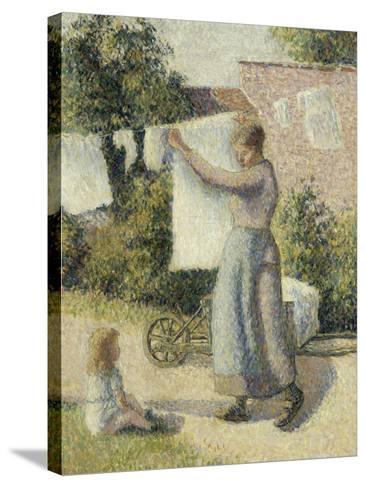 Femme étendant du linge-Camille Pissarro-Stretched Canvas Print