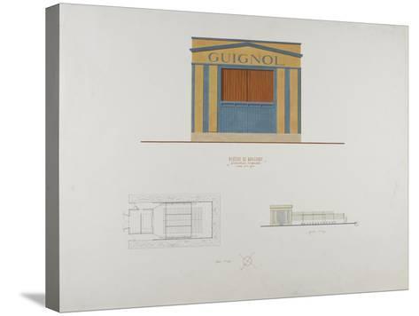 Façade en couelur du théâtre du Ranelagh, plan et élévation de profil--Stretched Canvas Print