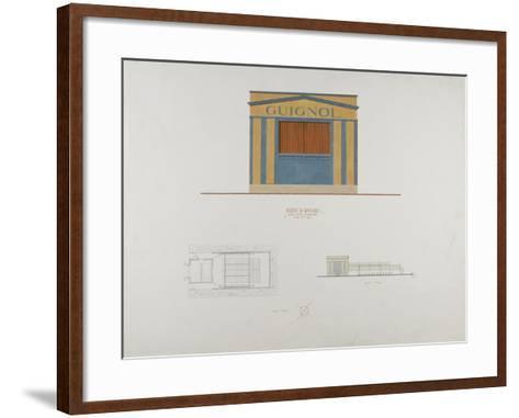 Façade en couelur du théâtre du Ranelagh, plan et élévation de profil--Framed Art Print